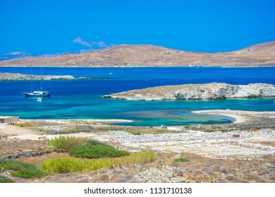 Ancient ruinsin the island of Delos in Cyclades, one of the most important mythological, historical and archaeological sites in Greece.