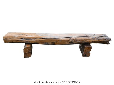Ancient rural bench from logs. isolated on white background. (clipping path)