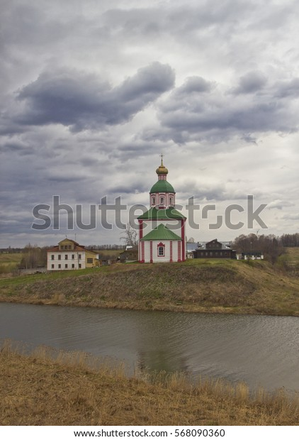 Ancient Russian church on the bank of the river. Suzdal. Russia