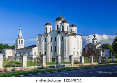 Ancient Russian church on the Yaroslav's Courtyard. St Nicholas cathedral domes, Paraskeva Pyatnitsa church and Gate tower. Veliky Novgorod (Novgorod the Great), Russia