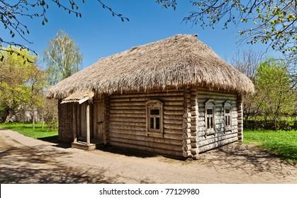 Ancient Russian log hut