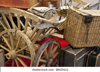 Ancient Russian use subjects. A cart, a record player, suitcases. Antiques