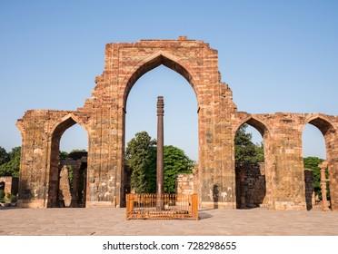 Ancient rust proof Iron pillar at Qutub Minar, Delhi, India