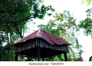 ancient rusty roof of hut in thailand.