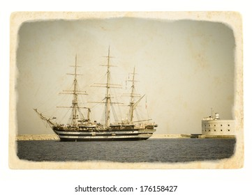 Ancient sailboat at grunge textured background. Exterior of the old tall ship. Historic three-masted sailing ship in the sea fortress. Vintage postcards with sailboat, illustration in retro style.
