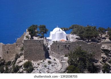 Ancient Saint Panteleimon Chapel in the Monolithos Castle. Rhodes Island, Mediterranean Sea, Greece