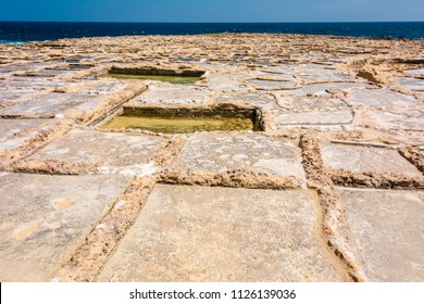 Ancient salt pans for the extraction of sea salt from sea water, Marsalforn, Gozo, Malta