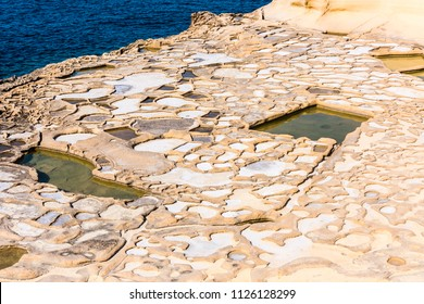 Ancient salt pans in Marsalforn, Gozo, Malta.