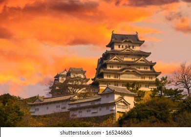 Ancient Samurai Castle of Himeji with Dramatic Sky during Sunset.  Japan.