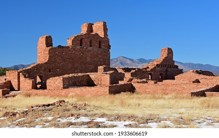the ancient san gregorio de abo ruins in the salinas pueblo missions national monument on a sunny winter day near mountainair, new mexico