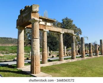 The ancient sanctuary of Artemis. Columns of the arcade or stoa before the temple, in Brauron or Vravrona, Attica, Greece