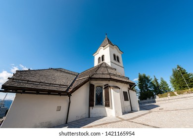 Ancient sanctuary of Monte Santo di Lussari, place of pilgrimage in Italian Alps. Udine province, Friuli Venezia Giulia, Italy, Europe