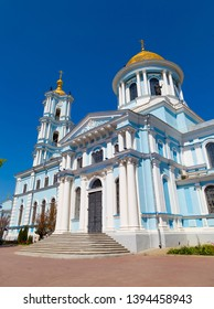 Ancient Savior Transfiguration Cathedral outside at bright sunny day ,  general view. City Sumy, Ukraine, Europe.Tourist destination, tourism, travel, tourism attraction