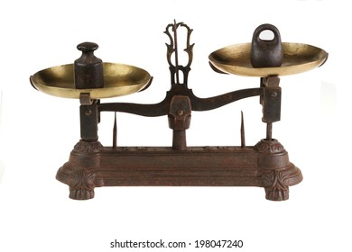 Ancient scales of lever type with the weight.  isolated