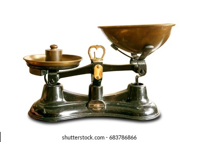 The ancient scales with the weight imbalance because a brass pendulum is on the left brass tray, isolate on white background and make with path.