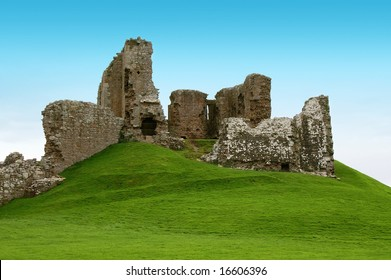 ancient scottish ruins on a green hill,duffes castle