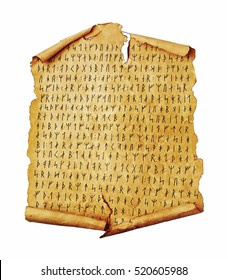 Ancient scroll with the Scandinavian runes isolated on white. Old paper document with hieroglyphic writing.
