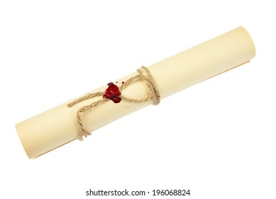 Ancient scroll of yellowed paper, tied with twine with sealing wax, isolated at white
