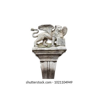Ancient sculpture a bas-relief of a lion griffin on the wall of an old house with clipping path