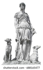 Ancient sculpture Diana (Artemis). Goddess of of the moon, wildlife, nature and hunting.
