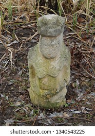 Ancient sculpture in the garden and interior