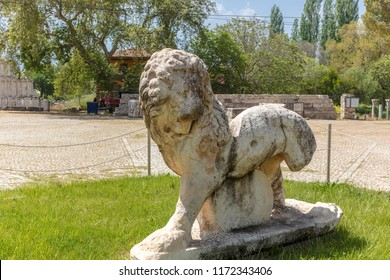 Ancient sculpture of a lion at the spectacular archaeology site of Afrodisias (Aphrodisias) in Turkey.