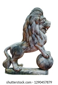 Ancient sculpture Lion statue marble leo Isolated on a white