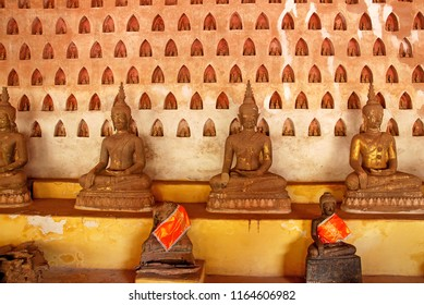 Ancient of Sculpture many Buddha Statue in the temple at Wat Si Saket - Famous of Vientiane, Laos,