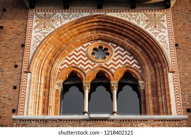 Ancient Sforza Castle in Milan city. Beautiful old Castello Sforzesco in Milano built in 15th century.Classic medieval Italian fortification architecture.Built at times of renaissance in Italy