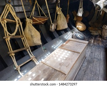 Ancient ship equipment at the wooden ship