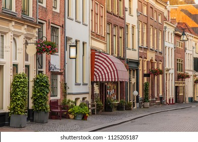 Ancient shopping street in the historical center of the Dutch city of Zutphen in The Netherlands