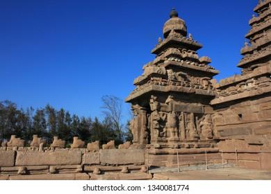 Ancient shore temple in Mahabalipuram, Tamil Nadu, India. A UNESCO world heritage site.