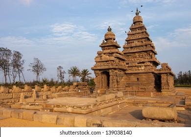Ancient Shore temple of Mahabalipuram, Tamil Nadu, India