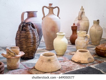 Ancient sicilian terracotta pots. closeup