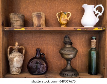 Ancient sicilian terracotta pots and other objects. closeup