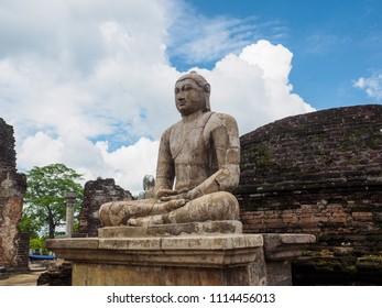 The ancient sitting Buddha statue at Vatadage temple in Polonnaruwa ancient city (846 AD Ð 1302 AD), Sri Lanka.