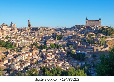 ancient spanish city Toledo in sunrise light