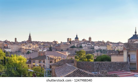 ancient spanish city Toledo in sunrise light (panorama view)
