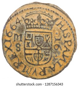 Ancient Spanish copper coin of King Felipe IV. 1664. Coined in Madrid. 16 Maravedis. Reverse.