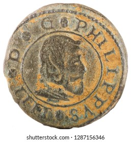 Ancient Spanish copper coin of King Felipe IV. 1664. Coined in Madrid. 16 Maravedis. Obverse.