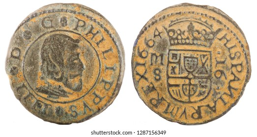 Ancient Spanish copper coin of King Felipe IV. 1664. Coined in Madrid. 16 Maravedis.