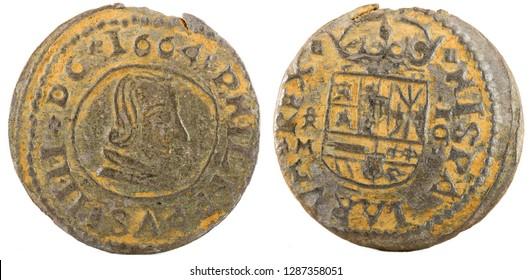 Ancient Spanish copper coin of King Felipe IV. 1664. Coined in Trujillo. 16 Maravedis.