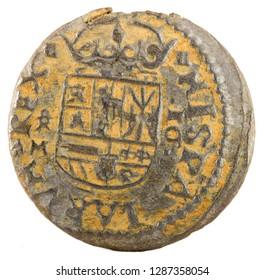 Ancient Spanish copper coin of King Felipe IV. 1664. Coined in Trujillo. 16 Maravedis. Reverse.