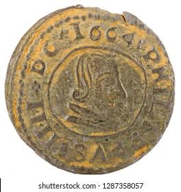 Ancient Spanish copper coin of King Felipe IV. 1664. Coined in Trujillo. 16 Maravedis. Obverse.