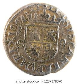 Ancient Spanish copper coin of King Felipe IV. 1661. Coined in Segovia. 8 Maravedis. Reverse.