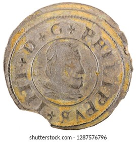 Ancient Spanish copper coin of King Felipe IV. 1662. Coined in Segovia. 16 Maravedis. Obverse.
