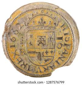 Ancient Spanish copper coin of King Felipe IV. 1662. Coined in Segovia. 16 Maravedis. Reverse.