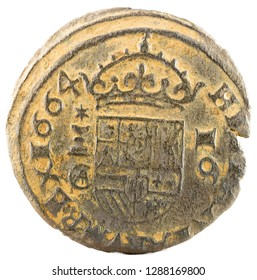 Ancient Spanish copper coin of King Felipe IV. 1664. Coined in Cuenca. 16 Maravedis. Reverse.