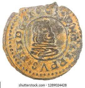 Ancient Spanish copper coin of King Felipe IV. 1663. Coined in Trujillo. 16 Maravedis. Obverse.