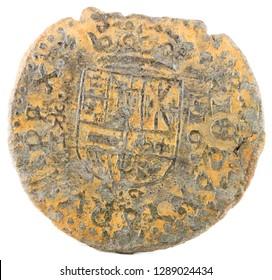 Ancient Spanish copper coin of King Felipe IV. 1663. Coined in Trujillo. 16 Maravedis. Reverse.